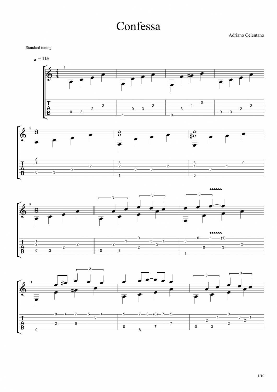 Адриано челентано confessa мелодия для гитары ноты
